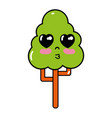 kawaii cute tender tree ecology vector image vector image