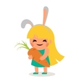 Little Happy Girl Hare Bunny Ears Big Tasty Carrot vector image vector image
