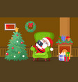 merry christmas santa claus sleeping on chair vector image vector image