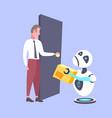 modern robot courier handing cardboard parcel vector image