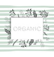 organic word with handmade font and floral vector image vector image