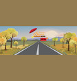 panorama autumn landscape with yellow trees vector image vector image