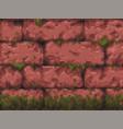 pixel art - retro wall parallax - background vector image vector image