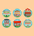 restaurant and shop facade round label set vector image