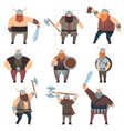 set of many male vikings with weapons over white vector image
