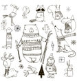 set with cute winter animals vector image vector image