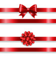 silk red bow set and white background vector image vector image