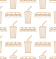 sub sandwich cola cold drink paper cup outline vector image vector image