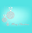 three white christmas balls on turquoise vector image vector image