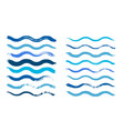 wave brush cyan water waves isolated dirty vector image