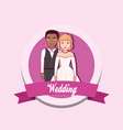 wedding card with married couple vector image