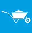 wheelbarrow with sand icon white vector image vector image