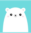 white polar bear cub face cute cartoon kawaii vector image vector image