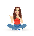 woman sitting and pointing away vector image