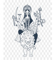 silhouette of goddess durga many hands vector image