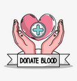 hands with heart and cross symbol icon vector image