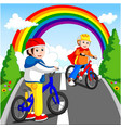 little boy driving bicycle vector image