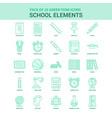 25 green school elements icon set vector image vector image