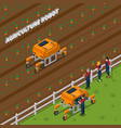 agricultural robot isometric composition vector image vector image