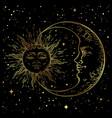 antique style hand drawn art golden sun crescent vector image