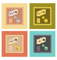 assembly flat icons poker board card chip vector image vector image