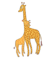 Baby giraffe with mother vector image vector image