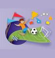 back to school paper cut cartoon boy soccer vector image