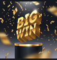 big win golden sign and golden foil confetti vector image
