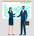 business partners on meeting whiteboard charts vector image vector image