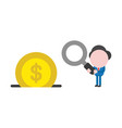 businessman holding magnifying glass with dollar vector image vector image