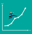 businessman running on growth line graph vector image vector image