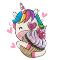 cartoon unicorn with cupcake on a white background vector image
