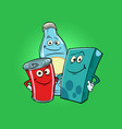 characters drinks milk cola juice vector image