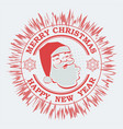 christmas round red shade sign with a silhouette vector image vector image