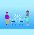 couple man woman customers with crashed shopping vector image vector image