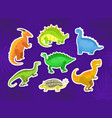 cute dinosaur stickers collection little colorful vector image vector image