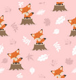 cute fox with leaves decoration pattern vector image