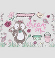 cute raccoon animal hand drawn set vector image