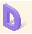 D letter in isometric 3d style with shadow vector image vector image
