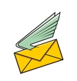 Envelope with wings symbol of fast delivery vector image vector image