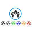 financial options care hands rounded icon vector image vector image