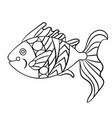 fish in coloring page for childrean and adults in vector image vector image