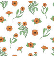 floral seamless pattern with calendula plants and vector image