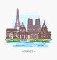 french landmarks eiffel tower and notre-dame vector image