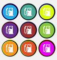 Fuel icon sign Nine multi colored round buttons vector image vector image