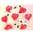 funny heart set of emotions eps10 vector image