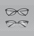 glasses with broken lenses realistic set vector image vector image