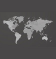 gray blank world map on black background vector image vector image