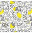 hand draw seamless pattern lemons and lemon vector image vector image