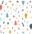 hand drawn seamless pattern with trees wrapping vector image